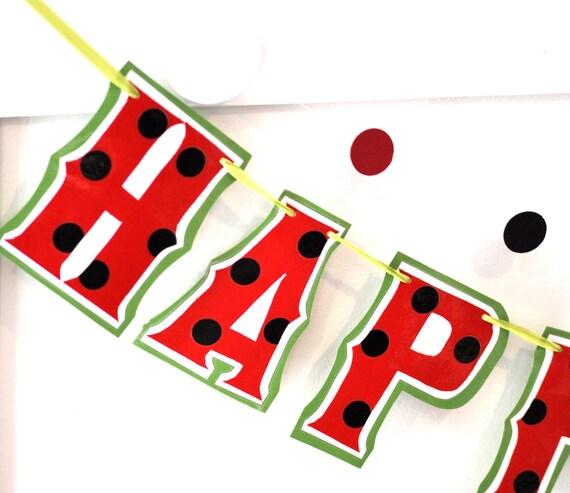Watermelon Party Banner, Watermelon Birthday Party, Watermelon Decor, Watermelon Party Supplies, Custom Watermelon Banner, HAPPY BIRTHDAY