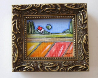 Mini Acrylic Landscape Painting, Original on canvas, Ink, Framed art, Farmhouse, fields, gift idea