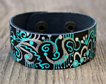 Leather Cuff Bracelets for Women, Black Leather Bracelet, Leather Cuff Bracelet, Turquoise Patina Jewelry, Silver Patina, Bohemian Jewelry