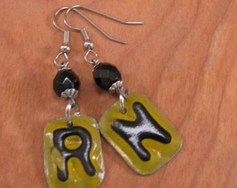 License Plate Jewelry - Repurposed License Plate Letters - Nursing - RN - License Plate Letter Earrings - Kitschy, Yellow and Black