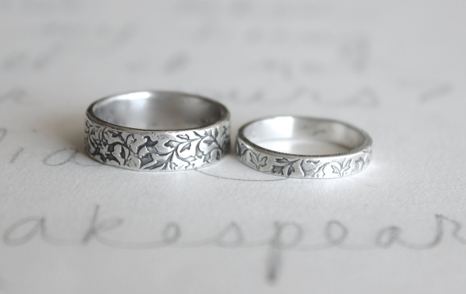 wedding band ring set vine leaf wedding rings bands handmade silver wedding ring set - Wedding Band Rings