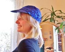 Sequin Cap, Blue Sequin Cap, Royal Blue Hat, 80s Beaded cap, 1980s Blue cap, osfm