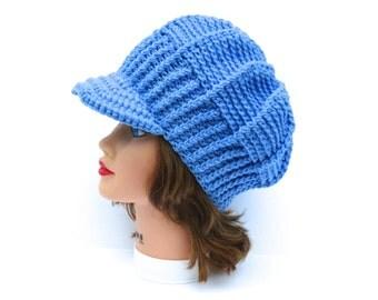 Crochet Newsboy Hat - Robin Blue Hat With Brim - Women's Cap - Brimmed Beanie - Visor Beanie - Brim Hat - Crochet Accessories