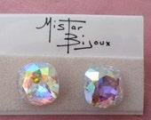 SALE Mistar Bijoux Austrian crystal earrings, new on card, gorgeous, ca 1970s