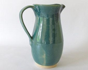 Tall Narrow Pitcher. Jade Green. Teal. Ocean Green. Blue-Green. Denim. Dusty Blue. Teal Blue. Beverage. Speckle. Contemporary. Vase. 28 oz.