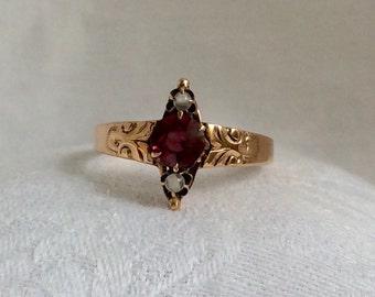 Vintage Victorian Garnet and Moonstone 14k Ring