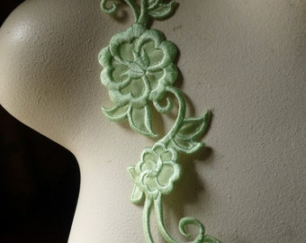 Pale Lime Flower Appliques for Headbands, Costumes Iron On IRON 44pl