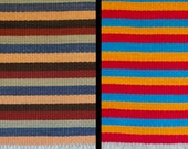 Handwoven Mood Rug™. Earth Tones on One Side (Rust, Salmon, Gray, Brown, Sage), Bright Colors on One Side (Turquoise, Red, Yellow Gold)