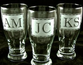 3 Groomsmen Gifts, Etched Glass Pint Glasses, Monogrammed Presents for Ushers, Best Man
