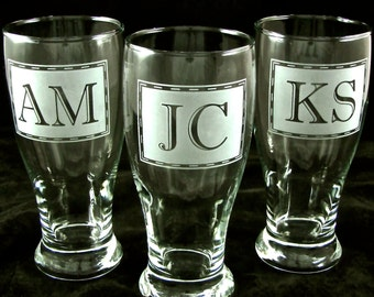 3 Groomsmen Gifts, Etched Glass Pint Glasses, Monogrammed Gifts For Men