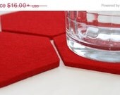 Christmas in July CIJ Red Hexagon Coasters for Drinks Absorbent Coasters 5mm Thick Virgin Merino Wool Felt Housewares Home Decor