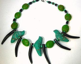HandmadeTribal Black Horn Spikes and Green Clay Bird Necklace, All Vintage Beads, OOAK by Rachelle Starr 2015
