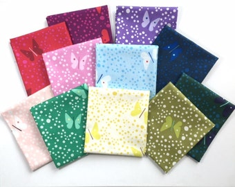 BUTTERFLIES by Lizzy House Fat Quarter Bundle /  Complete Collection 11 pieces / US Shipping 5.75 dollars