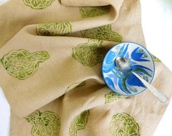Artichoke Linen Tea Towel, Dish Cloth, Hand Printed Dish Towel
