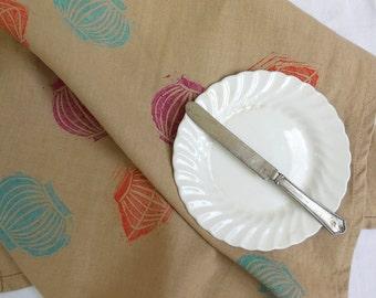 Lantern Linen Tea Towel, Dish Cloth, Hand Printed Dish Towel