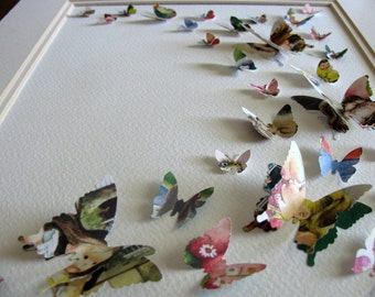 SAMPLE Eloise Wilkin Upcycled 3D Layered Butterfly Art. Butterfly Wall Art. 8x10 inches