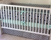 SALE Crib Bedding Ready to Ship Navy Gray and Mint