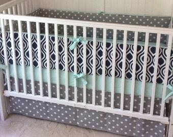 Baby Boy Crib Bedding Ready to Ship Navy Gray and Mint