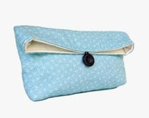 Blue and Ivory Clutch Purse, Spring Wedding Bridal Clutch, Bridesmaid Gift, Bridesmaid Clutch, Makeup Bag, Wedding Accessory