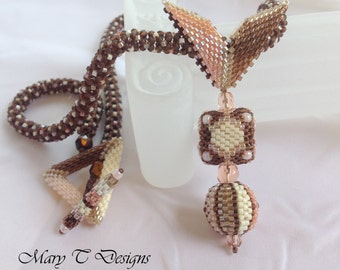Brown and Cream Beadwoven Pendant Necklace...Beaded Bead...Pink, Cream and Brown