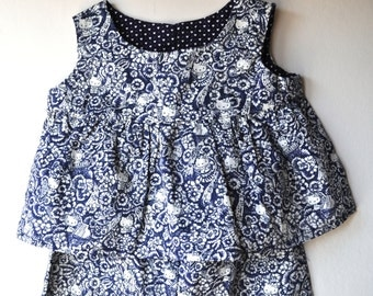 Little Girl's Summer Playsuit -  Liberty of London Tana Lawn - Age 3 - 6 Months
