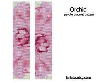 Orchid Design - Peyote Bracelet Pattern - INSTANT DOWNLOAD