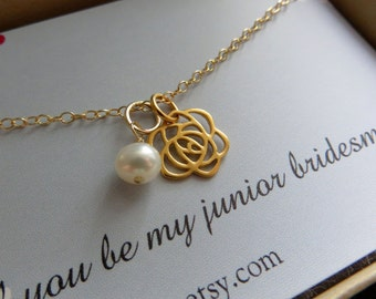 gift for junior bridesmaid jewelry & card, rose charm necklace, tiny pearl accent, will you be my junior bridesmaid card, weddings