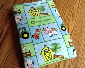 """John Deere Baby Boy Blanket! Minky Dot on Back 29""""x35"""", ready to ship"""