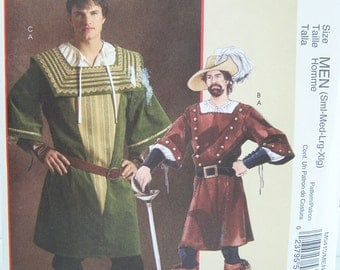 McCall's M5413 Men's Costume Sewing Pattern, Poet's Shirt, Tunic Pirate, Swashbuckler Renaissance Outfit, Theatrical Costume Pattern Destash