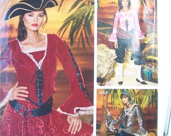 Pirate Outfit, Simplicity 0509 Misses' Costume Sewing Pattern, Skirt, Pants, Tie Up Ruffle Sleeve Top, Scarf and Sash Size 14 - 22, Destash