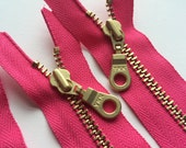 YKK Brass Metal Zipper with Donut Pull (5) Pieces- Hot Pink 516 - 10,12,14 or 20 Inch