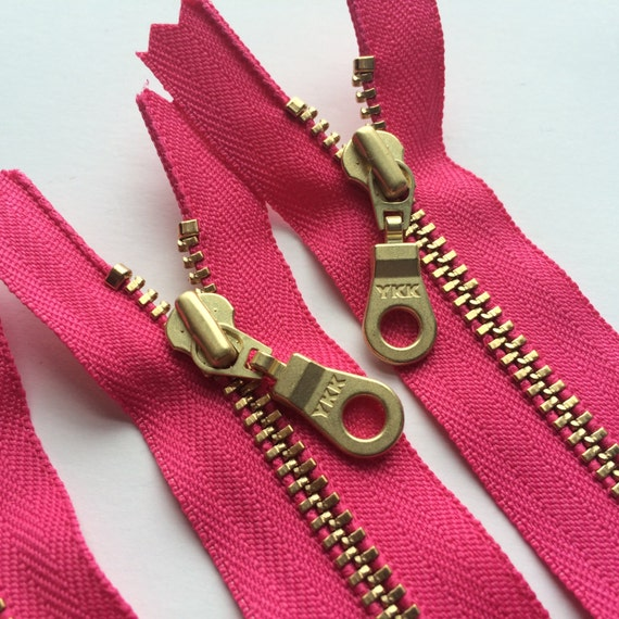 YKK Brass Metal Zipper with Donut Pull (5) Pieces- Hot Pink 516 - 10 Inch