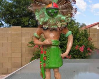 Native American Hopi Sun Kachina Clay Figure Signed Terry Latterman Ceramic Pottery Figurine Doll