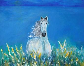 "Horse Art Print Wall Art Horse Painting White Horse Art Valley Mountains White Horse Friesian ""Perfect Flower Field""  Leslie Allen Fine Art"