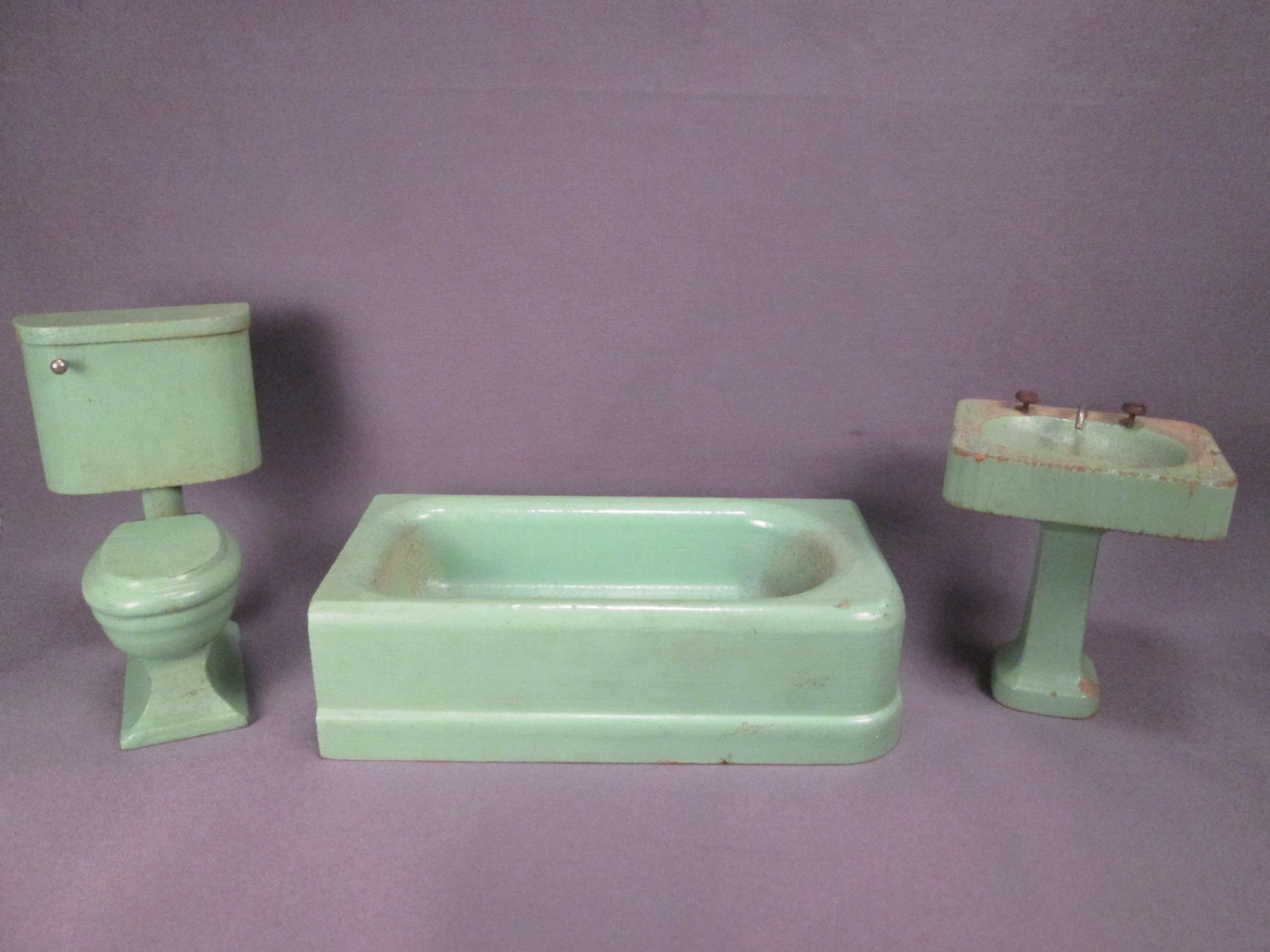Early Strombecker Wooden Dollhouse Bathroom Furniture Larger