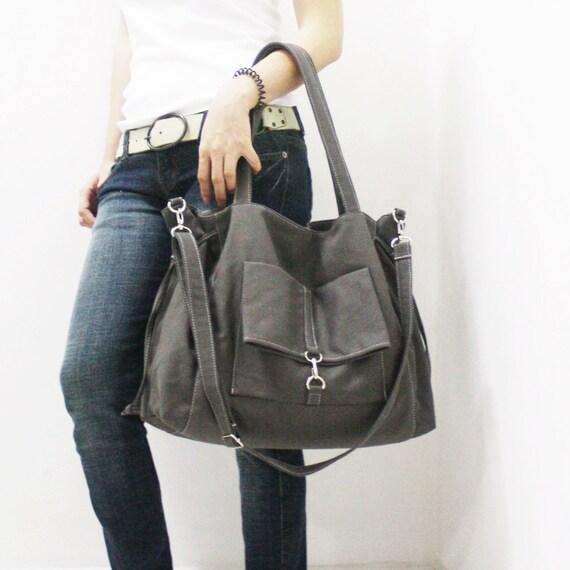 Back To School SALE - 20% OFF EZ in Dark Gray / Crossbody / diapers bag / Shoulder Bag / School bag / Purses / tote / women / For Her