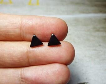 Mini Black Triangle Stud Earrings, Dainty Earrings - 6mm