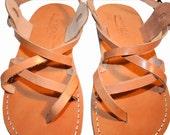 SALE 50% OFF - Caramel Triple Leather Sandals for Men & Women -- EURO # 40