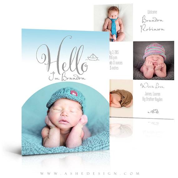 boy birth announcement card simply baby brandon 2 press