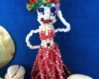 Wonderful Carmen Miranda Hand Beaded Pin Brooch Fashion Jewelry Doll