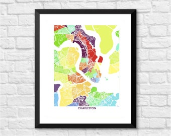 Charleston Map Print.  Color Options and Size Options Available.  South Carolina City Wall Art Poster.  Show your Local SC Love.