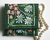 Crewel Embroidery Pattern DIY Embroidery Kit Gift Pouch verbena and daisy flowers on forest green