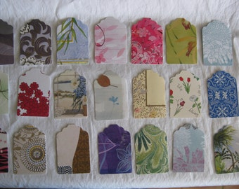 Gift tags, OOAK, reclaimed from cards, catalogs, quality cardstock paper, no 2 alike, 24 tags