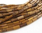 12 perles tubes en bois de 7x15mm