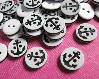 12 Black Anchor on White Button - nautical resin sewing button 13mm