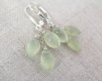 Prehnite Earrings, Prehnite Dangle Earrings, Prehnite Cluster Earrings, Prehnite and Sterling Silver Earrings, Prehnite + Earring