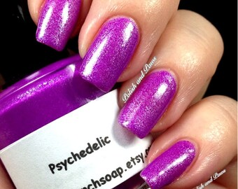 Neon Purple Nail Polish - Fluorescent -PSYCHEDELIC- UV Reactive Nail Polish/Lacquer - Regular Full Sized Bottle (15 ml size)