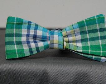 Blue Green Homespun Plaid  Bow Tie