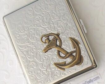 Big Brass Anchor Cigarette Case Steampunk Cigarette Case Nautical Cigarette Case Silver Case Double Size Big Size Large Cigarette Case New