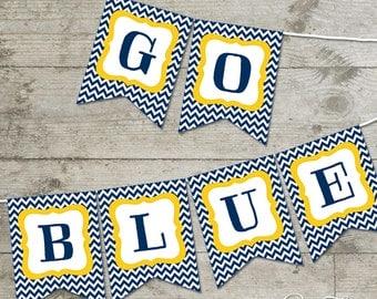 Michigan Go Blue Chevron Printable Banner